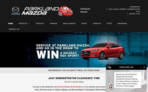 Screenshot of Home Page parklandmazda.com.au - Parkland Mazda   Mazda Dealer Cannington - captured July 15, 2018