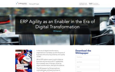 Screenshot of Landing Page panaya.com - ERP Agility as an enabler in the era of digital transformation - Panaya - captured Jan. 25, 2017