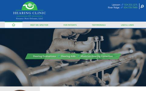 Screenshot of Home Page hcgno.com - Quality Hearing Care  | Hearing Clinic of Greater New Orleans - captured Jan. 28, 2016
