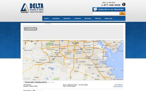 Screenshot of Locations Page deltarigging.com - Locations   Delta Rigging & Tools - captured Oct. 5, 2014