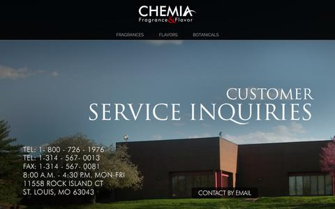 Screenshot of Contact Page chemiacorp.com - Chemia Contact - Chemia - Chemia - captured Sept. 27, 2018