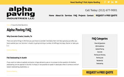 Screenshot of FAQ Page alphapavingtexas.com -   Alpha Paving Industries - captured Oct. 8, 2017