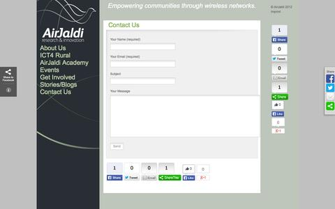 Screenshot of Contact Page airjaldi.org - Contact Us   AirJaldi Research & Innovation - captured Oct. 4, 2014