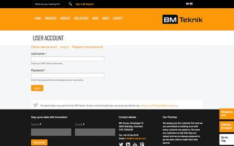 Screenshot of Login Page bm-teknik.com - User account | BM Teknik - captured Sept. 30, 2014