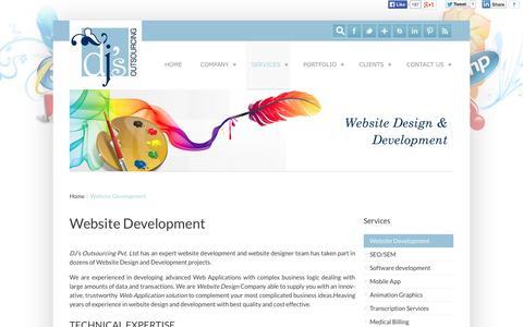 Screenshot of Services Page djsoutsourcing.com - Website design and development @ dj's Outsourcing - captured Oct. 5, 2014