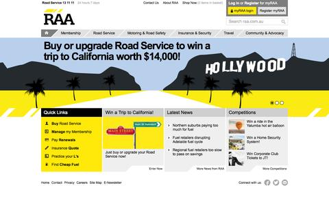 Screenshot of Home Page raa.com.au - RAA | Royal Automobile Association of South Australia - captured Sept. 22, 2014