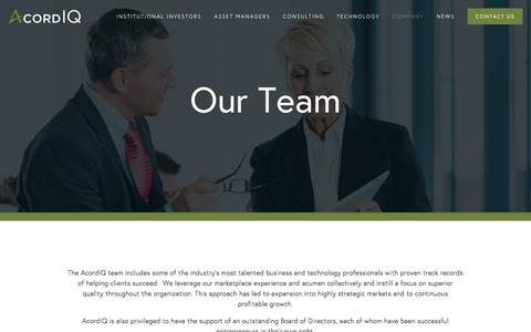 Screenshot of Team Page acordiq.com - Team — AcordIQ - captured Feb. 5, 2016