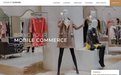 Screenshot of Home Page predictspring.com - The Unified Mobile Commerce Platform   PredictSpring - captured July 19, 2018