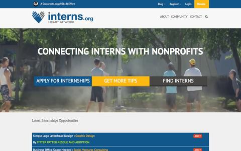 Screenshot of Home Page interns.org - Interns.org - Connecting Interns with Nonprofit Organizations - captured Sept. 18, 2015