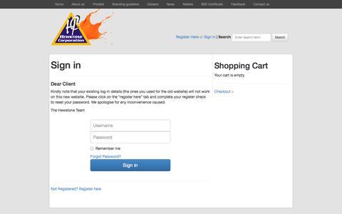Screenshot of Login Page hewstone.com - Progift::Log On - captured Oct. 3, 2014