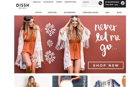 Screenshot of Home Page dissh.com.au - Shop Dissh Boutiques l THE Online Shopping Destination - captured Oct. 1, 2015