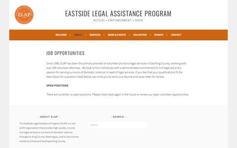 Screenshot of Jobs Page elap.org - Job Opportunities – Eastside Legal Assistance Program - captured Sept. 26, 2018