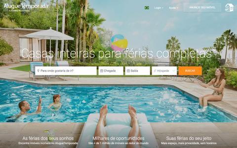 Screenshot of Home Page aluguetemporada.com.br - AlugueTemporada: Alugue Casas, Flats e Imóveis por Temporada - captured Aug. 22, 2016