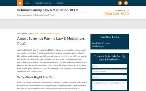 Screenshot of About Page schmidtfamilylaw.com - About Schmidt Family Law & Mediation, PLLC | Edina, Minnesota - captured Oct. 5, 2017