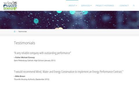 Screenshot of Testimonials Page windwaterenergy.com - Testimonials – Wind Water & Energy Conservation - captured Oct. 21, 2017