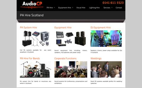 Screenshot of Services Page audiocp.com - AudioCP - PA Hire Scotland - captured Oct. 4, 2014