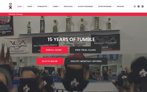 Screenshot of Home Page excitegym.com - Best Gym in North Texas - Excite! - captured Sept. 8, 2017