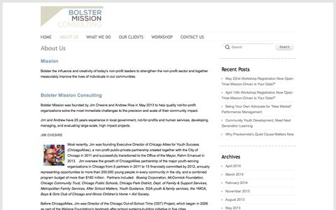 Screenshot of About Page bolstermission.com - About Us | Bolster Mission Consulting - captured Oct. 5, 2014