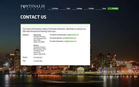 Screenshot of Contact Page fontinalis.com - Contact - Fontinalis Partners - captured Oct. 6, 2014