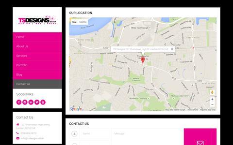Screenshot of Contact Page tsdesigns.co.uk - Contact us - TS Designs - Design | Web | Print || London - captured Feb. 17, 2016