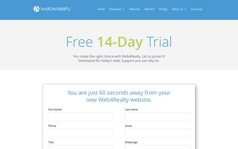 Screenshot of Signup Page Trial Page web4realty.com - Free Trial | Web4Realty - captured Oct. 22, 2014