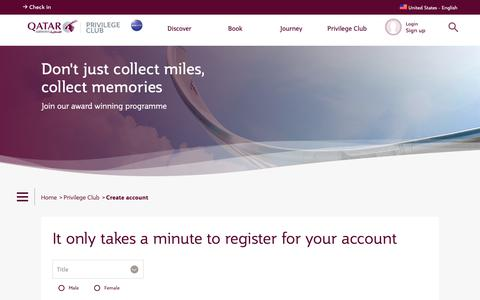 Screenshot of Signup Page qatarairways.com - Create account | Qatar Airways - captured Sept. 27, 2018
