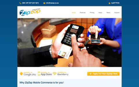 Screenshot of Home Page zipzap.co.za - Mobile Commerce Card Payments using ZipZap - captured Oct. 6, 2014
