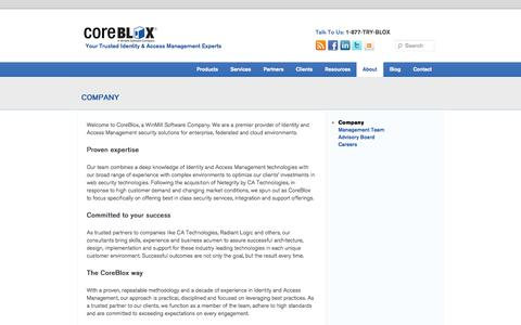 Screenshot of About Page coreblox.com - CA SiteMinder Identity & Access Management Expertise | CoreBlox - captured Sept. 30, 2014