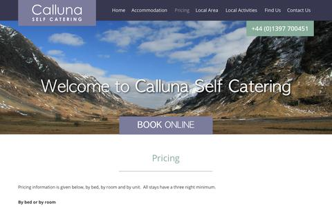 Screenshot of Pricing Page fortwilliamholiday.co.uk - Pricing | Calluna Self Catering - captured Nov. 9, 2018