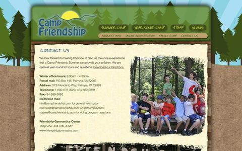 Screenshot of Contact Page campfriendship.com - Contact Camp Friendship - Summer Camp in Virginia | Camp Friendship - captured Sept. 27, 2014