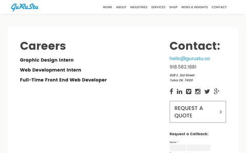 Screenshot of Jobs Page gurustu.co - Careers - GuRuStu - captured Dec. 16, 2016