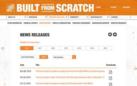 Screenshot of Press Page homedepot.com - News Releases 2018 | The Home Depot - captured Nov. 8, 2018