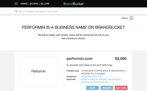 Performin is a business name on BrandBucket