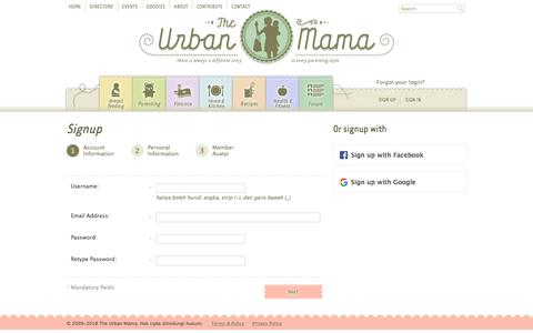Screenshot of Signup Page theurbanmama.com - Sign Up - Account Information - The Urban Mama - captured Sept. 21, 2018