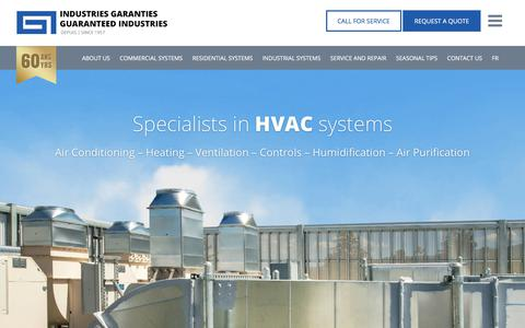 Screenshot of Home Page guaranteedindustries.com - Guaranteed Industries | Your HVAC Systems Specialist - captured Sept. 21, 2017