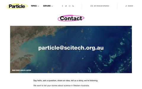 Screenshot of Contact Page scitech.org.au - Contact   Particle - captured Jan. 19, 2018