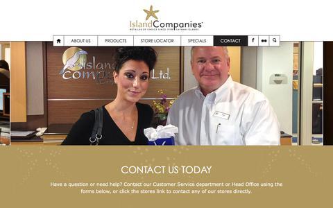 Screenshot of Contact Page islandcompaniesltd.com - Contact Island Companies Grand Cayman - captured Jan. 9, 2016