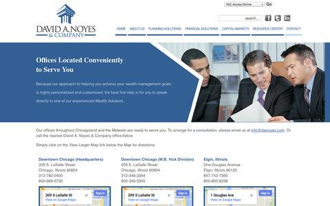Screenshot of Contact Page Locations Page danoyes.com - Contact Us - David A. Noyes - Wealth Management Advisors - captured Oct. 22, 2014