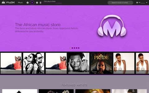 Screenshot of Home Page myziki.com - Myziki.com The African Music Store - captured Oct. 7, 2014