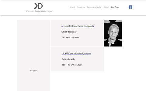 Screenshot of Team Page kronholm-design.dk - Contact KD - captured Sept. 20, 2018
