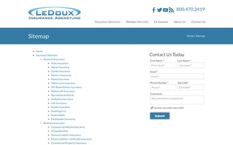 Screenshot of Site Map Page ledouxinsurance.com - Sitemap | LeDoux Insurance Agency of Eugene OR - captured Oct. 2, 2014