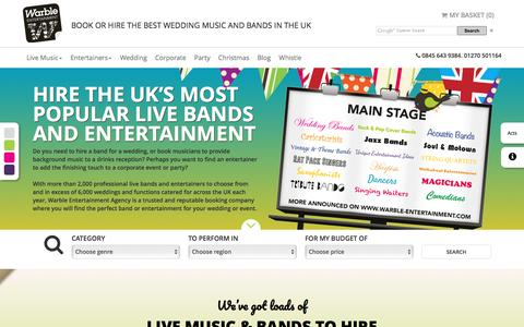 Screenshot of Home Page warble-entertainment.com - The Best Wedding Bands for Hire Entertainment Agency in the UK - captured Dec. 12, 2016