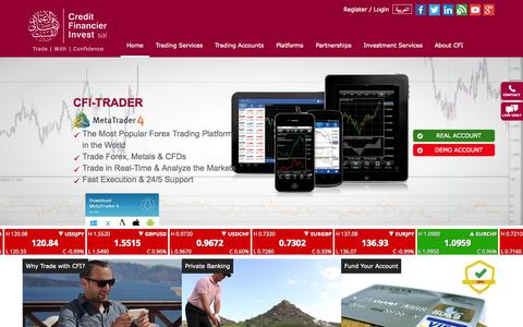 Screenshot of Home Page cf-invest.com - CFI- Online Forex Trading | Forex Brokers | Currencies | CFDs | Metals - Welcome - captured Sept. 17, 2015