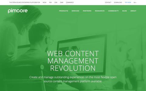 Screenshot of Products Page pimcore.org - Open Source Web Content Management (CMS) - Pimcore Platform - captured Nov. 6, 2016
