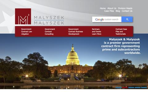 Screenshot of Home Page 2malyszek.com - Government Contracting - Consulting Law - Federal Protest Litigation - Malyszek & Malyszek - captured Feb. 4, 2016