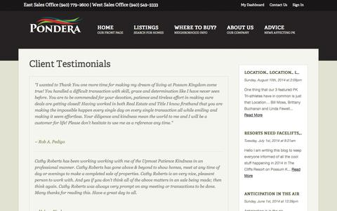 Screenshot of Testimonials Page ponderapk.com - Testimonials - captured Oct. 3, 2014