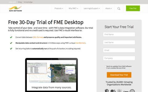 Screenshot of Trial Page safe.com - FME Desktop Trial Download | Safe Software - captured May 11, 2016