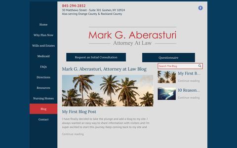 Screenshot of Blog ny-elderlaw.com - Mark G. Aberasturi, Attorney at Law Blog | Goshen, NY - captured April 8, 2017
