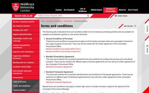 Terms and conditions  | Middlesex University London