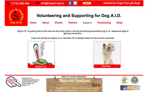 Screenshot of Support Page dogaid.org.uk - Support - Dog A.I.D. - captured Oct. 12, 2017